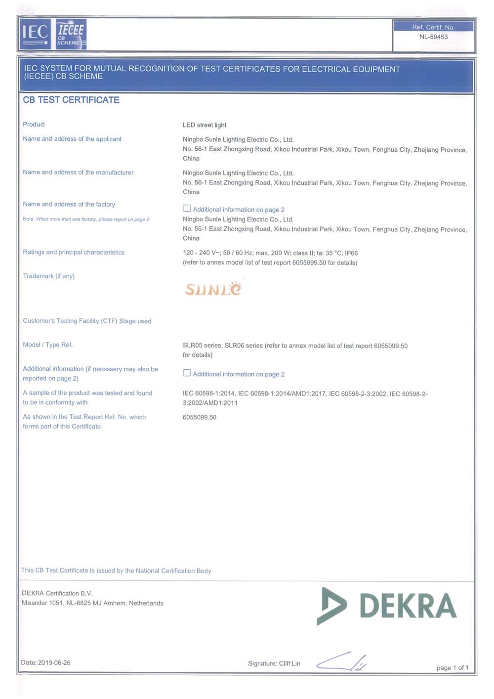 CB Certificate- NL 59453